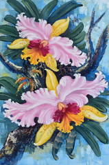 Original oil painting on canvas - forest orchids