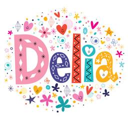 Delia girls name decorative lettering type design