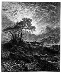 19th century engraving of a Surrey common, UK
