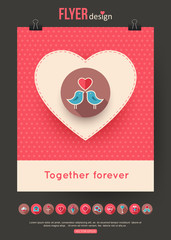 Valentines Day brochure template and set of flat valentines day