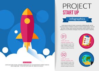 Business start up rocket infographics.