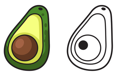Illustration of isolated colorful and black and white avocado fo