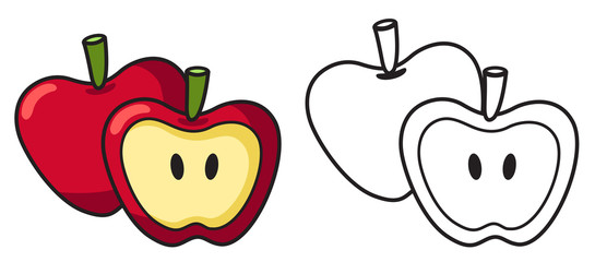 Illustration of isolated colorful and black and white apple for