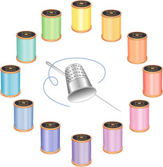 Sewing Needle Silver Thimble, 12 pastel thread spools in circle