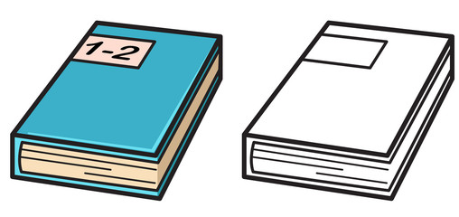 Illustration of isolated colorful and black and white book for c