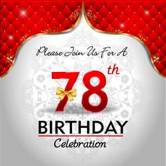 celebrating 78 years birthday, Golden red royal background