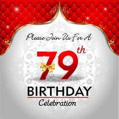 celebrating 79 years birthday, Golden red royal background