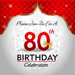 celebrating 80 years birthday, Golden red royal background