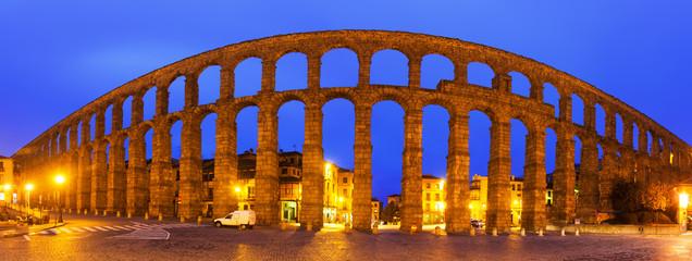 panorama of  Roman Aqueduct of Segovia