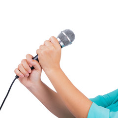 Female hand holding microphone