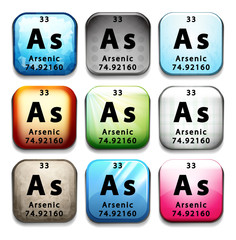 A button showing the chemical element Arsenic