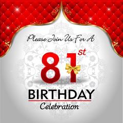 celebrating 81 years birthday, Golden red royal background