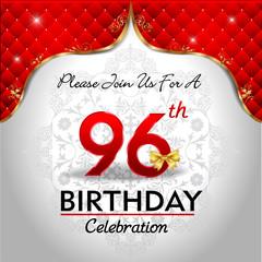 celebrating 96 years birthday, Golden red royal background