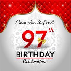 celebrating 97 years birthday, Golden red royal background