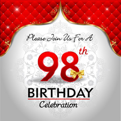 celebrating 98 years birthday, Golden red royal background