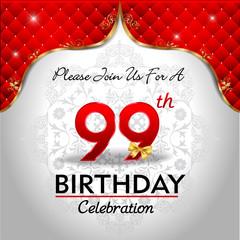 celebrating 99 years birthday, Golden red royal background