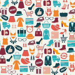 background with colorful shopping icons