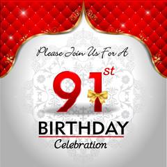 celebrating 91 years birthday, Golden red royal background