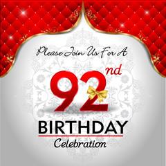 celebrating 92 years birthday, Golden red royal background
