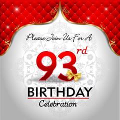 celebrating 93 years birthday, Golden red royal background