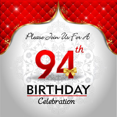 celebrating 94 years birthday, Golden red royal background