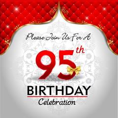 celebrating 95 years birthday, Golden red royal background