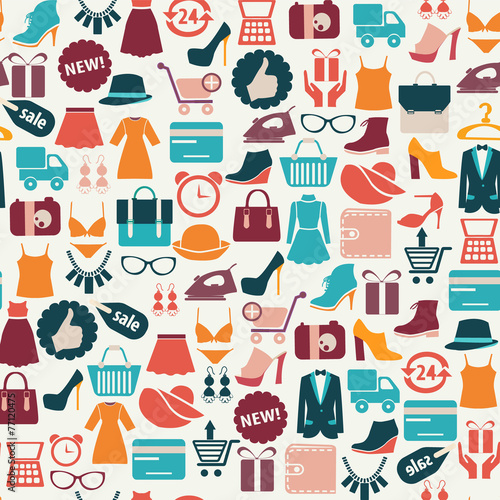 background with colorful shopping icons - 77120475