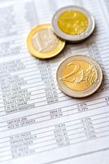 Euro money in office