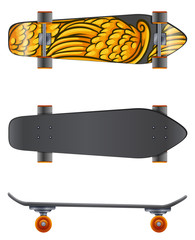 A skateboard in different angles
