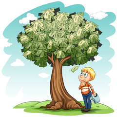 A money tree and a young boy