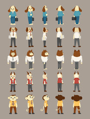 Set of animal business man costume characters