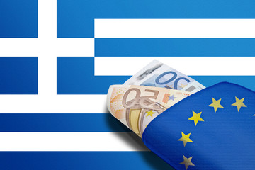 Greek banner euro wallet