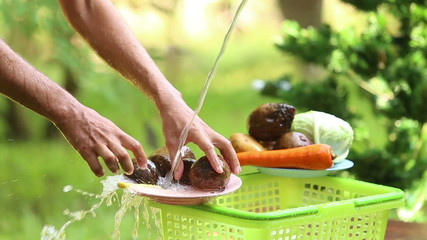 man wash different vegetables for cooking traditional ukrainian