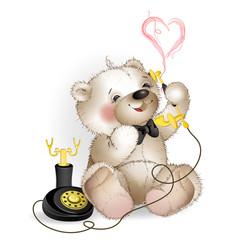 Happy Teddy Bear talking on the phone