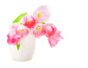 Rosa Tulpen, weiße Vase