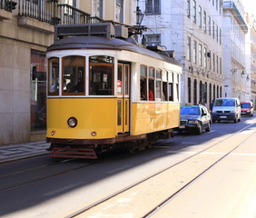 Old yellow tram
