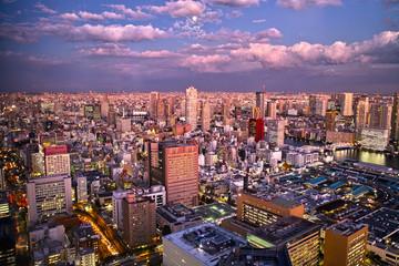 東京の下町の夕景と満月