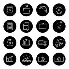 Money and Finance Line Icons Vector Collection