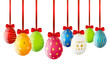 Set of Easter eggs with red ribbon