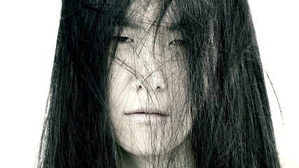 Scary horror expression of asian woman for movie