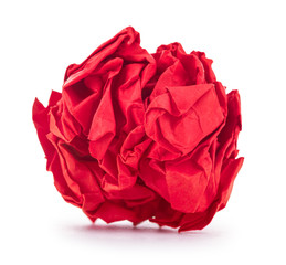 bright red crumpled paper on a white background