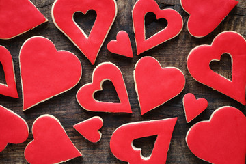 Heart shaped Valentine cookies background
