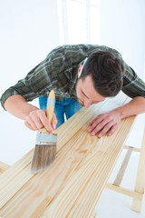 Carpenter using brush on wooden plank
