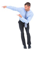 Happy businessman showing with fingers