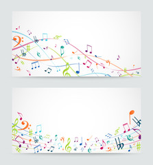 Abstract colorful music notes banner