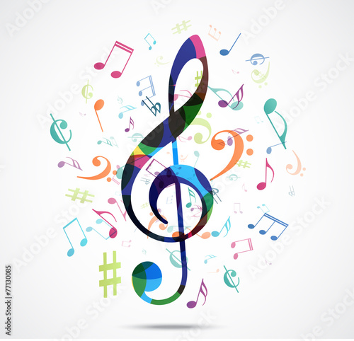 Abstract background Colorful music notes - 77130085