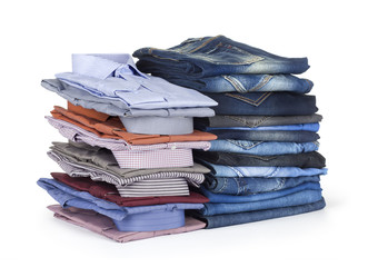 stack Jeans and  dress hirts on white background