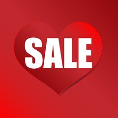 Sale poster.Paper heart shape with word SALE