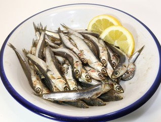dish with freshly caught raw anchovies and two slices of lemon