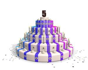 Lustrum feest - jubileum taart met cijfer 5
